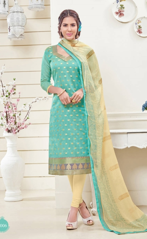 Sky Blue Jacquard Embroidered Salwar Suit