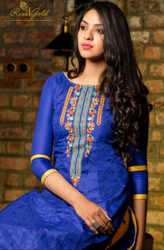 Blue and Yellow Palazo neck Pure Pashmina Embroidered Salwar Suit