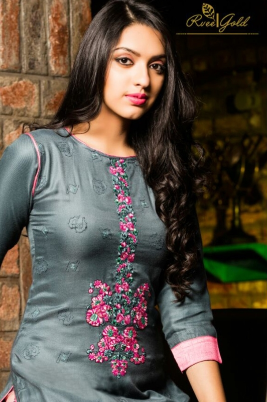 Grey and Pink Palazo neck  Pure Pashmina Embroidered Salwar Suit