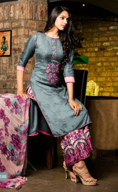 Grey and Pink Palazo  Pure Pashmina Embroidered Salwar Suit