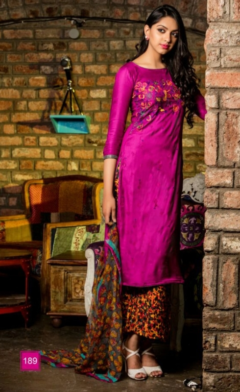 Pink and Yellow Palazo  Pure Pashmina Embroidered Salwar Suit