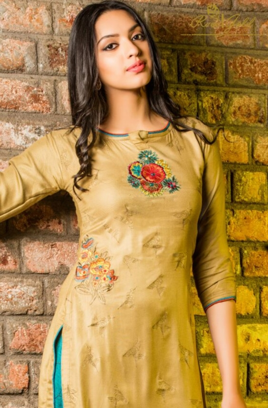 Golden and Green neck Palazo Pure Pashmina Embroidered Salwar Suit