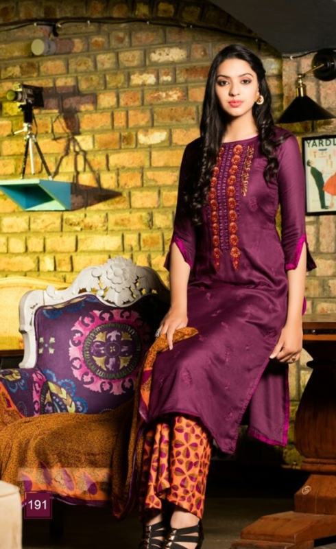 Parpule and Printed Palazo  Pure Pashmina Embroidered Salwar Suit