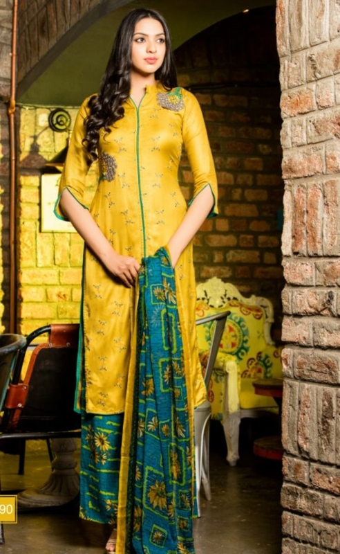 Yellow and Green Palazo  Pure Pashmina Embroidered Salwar Suit