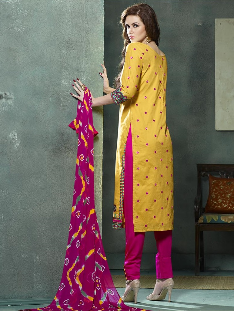 5b65a582ed Buy Embroidered Yellow Magenta Cotton Salwar Suit with Jaipuri ...