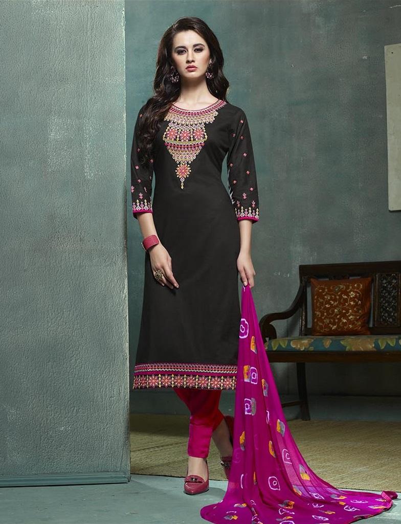 Black Magenta Heavy Embroidered Salwar Suit