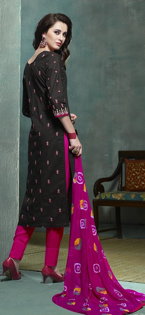 Black Magenta Embroidered CottonSalwar Suit