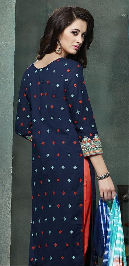 Blue orange salwar suit embroidered salwar suit