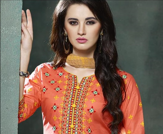 Peach and Yellow Embroidered salwar suit