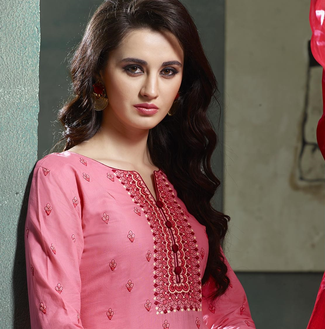 Pink & Red Cotton Embroidered Neck Salwar Suit