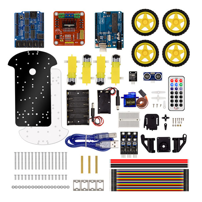 KuongShun 4WD Bluetooth Multi-functional DIY Smart Car kit +User  Manual+PDF+ Video+screwdriver For Arduino Robot Car Starter