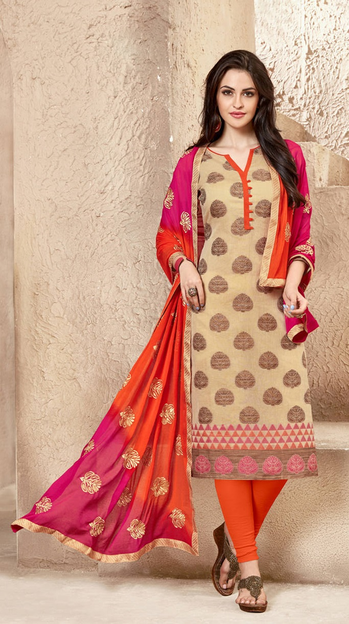 Buy Banarasi Orange Salwar Suit With Heavy Embroidered