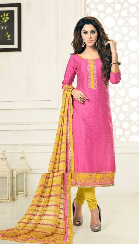 Buy Party Wear Pink&Yellow Dress Material With Heavy Dupatta Online ...