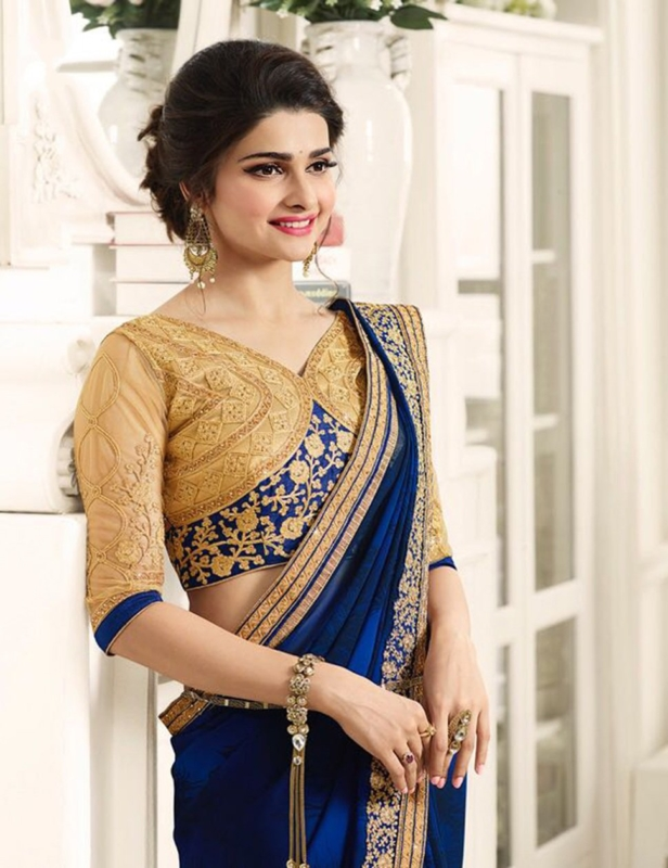 Navy Blue Georgette Embroidered Heavy Party Wear Saree