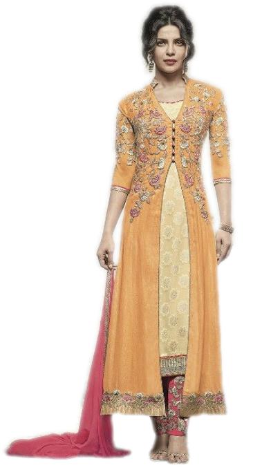 Priyanka Chopra Designer Embroidered Salwar Suit Yellow With Pink