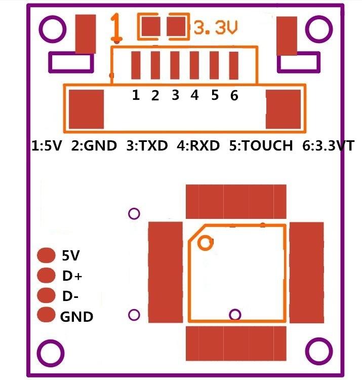 R307 fingerprint module circuit board diagram