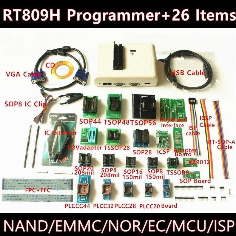 RT809H EMMC-Nand FLASH Programmer+26 Items TSOP56 TSOP48 Adapter EMMC-NAND  RT809F TL866CS TL866A