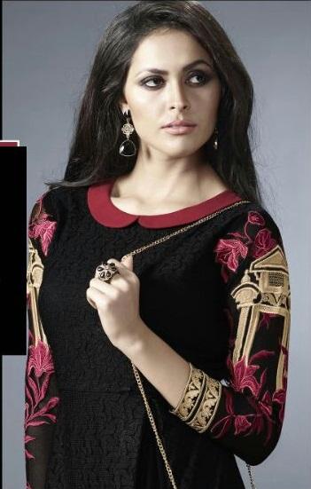Black and Red Golden neck Georgette Embroidered Salwar Suit
