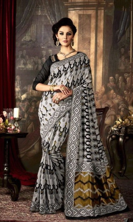 Black & Grey Silk Embroidered Sarees