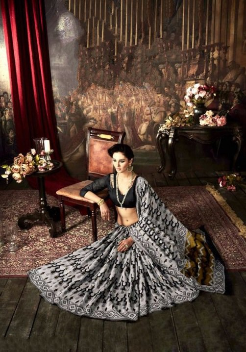 Black & Grey Silk Embroidered Sarees with heavy work