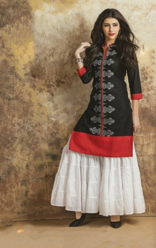 Black & White Cotton Embroidered Salwar Suit