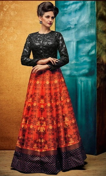 Orange & Black Designer Embroidered Lehengas