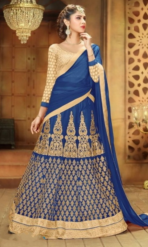 Blue & Golden Sentoon Embroidered Lehengas