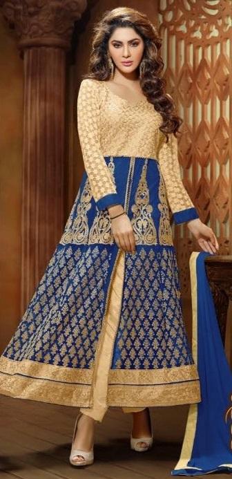 Blue & Golden Sentoon Embroidered Lehengas with naznin chiffon Dupatta