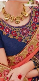 blue golden embroided neck sarees
