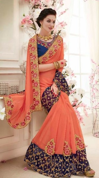 Navy Blue & Orange Designer Embroidered Sarees with heavy work
