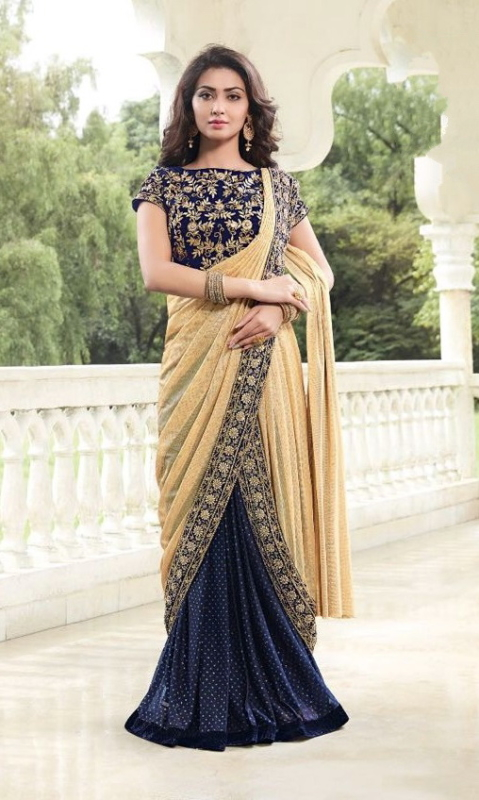 Navy Blue & Golden Designer Embroidered Sarees