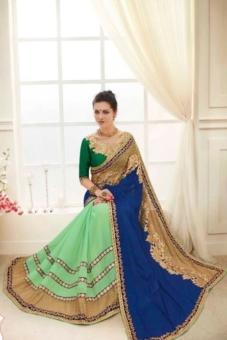 blue green golden embroided sarees
