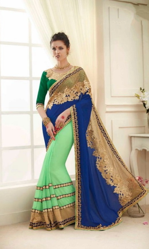 Blue & Green Designer Embroidered Sarees