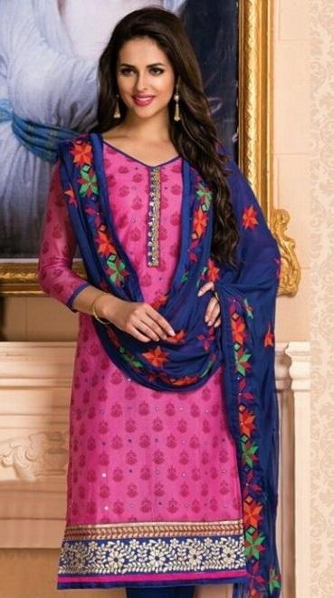 Pink neck Embroidered Salwar Suit