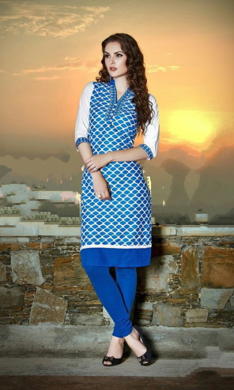 Blue & White Cotton Embroidered Salwar Suit