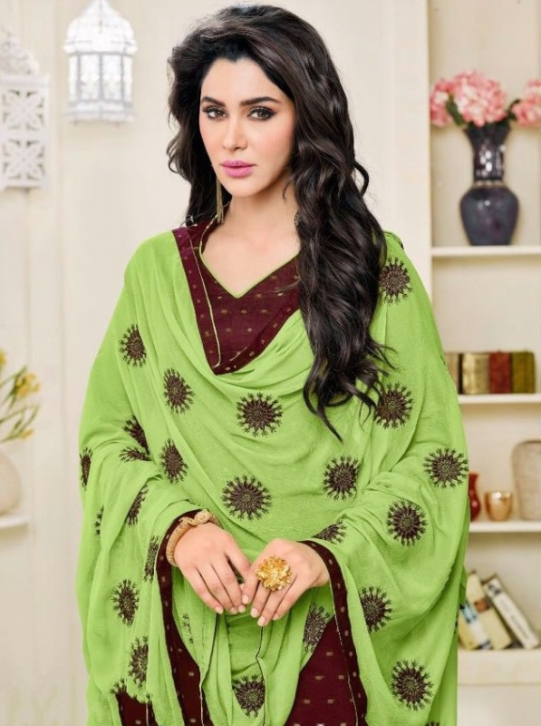 Brown & Green Pure Cotton Embroidered Salwar Suit with nazmeen dupatta