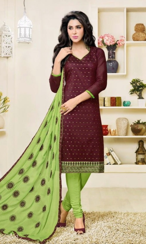 Brown & Green Pure Cotton Embroidered Salwar Suit