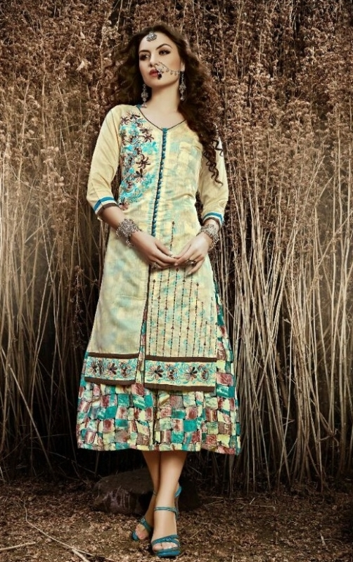 Creem and Brown Chanderi Silk Embroidered Salwar Suit