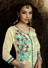 Creem and Brown neck Chanderi Silk Embroidered Salwar Suit