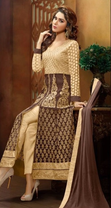 Brown & Golden Sentoon Embroidered Lehengas with naznin chiffon dupatta