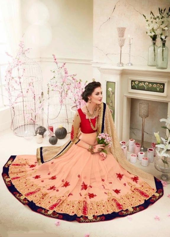 Golden and Red Designer Embroidered Sarees with heavy work