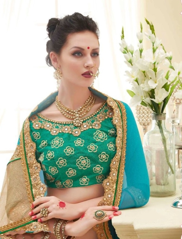 Green and Golden Designer nick Embroidered Sarees