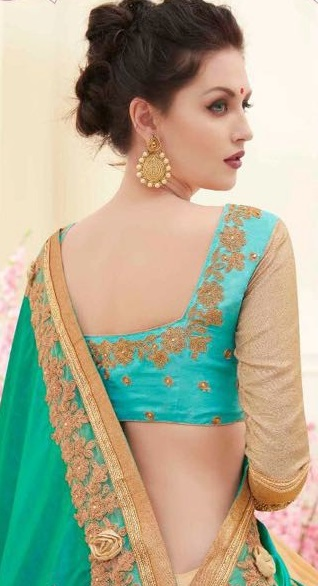 Green & Golden Designer back side Embroidered Sarees