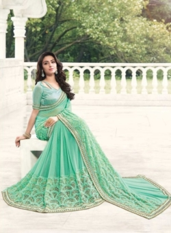 green golden embroided sarees