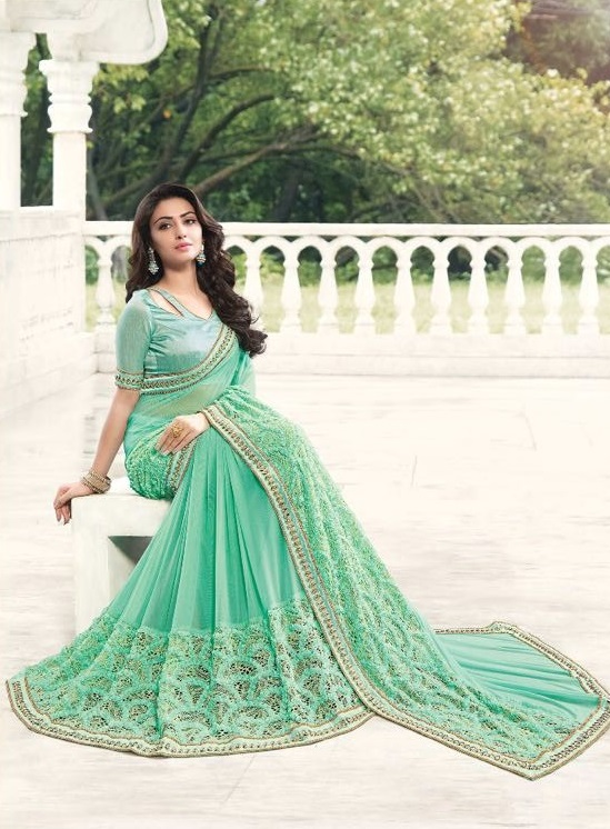 Green Designer neck Embroidered Sarees