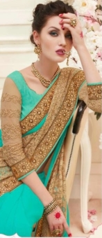 green & golden embroided sarees