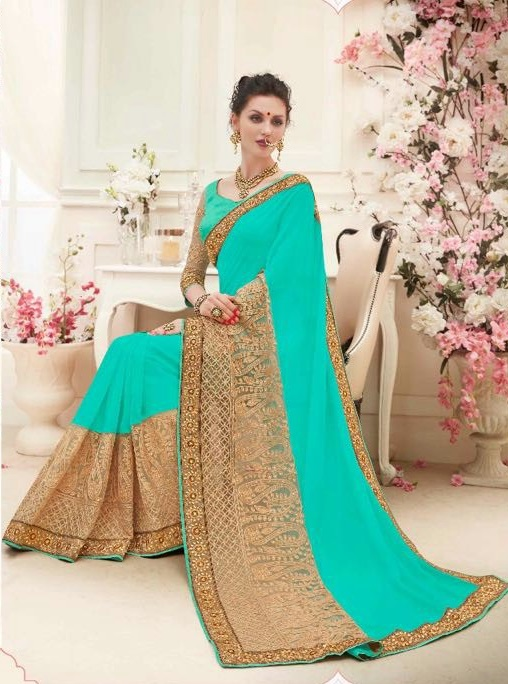 Green & Golden Designer Embroidered Sarees with heavy work
