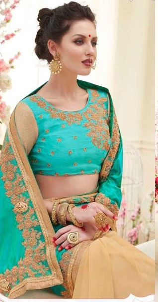 Green & Golden Designer nick Embroidered Sarees