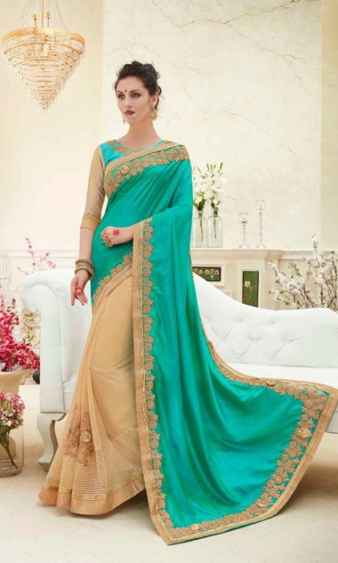 Green & Golden Designer Embroidered Sarees