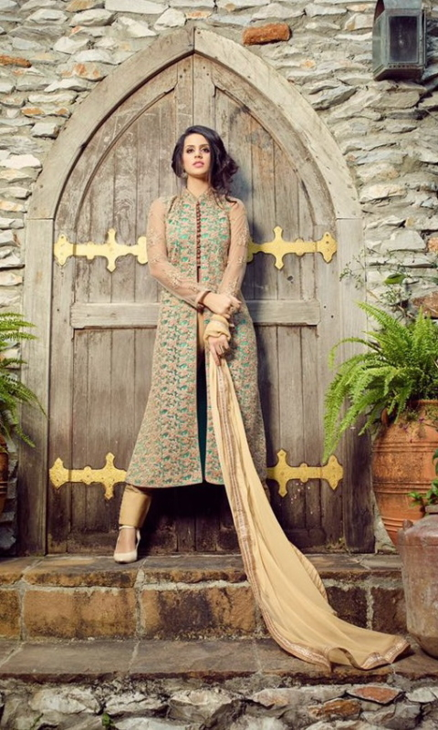 Green & Golden Georgette Embroidered Salwar Suit